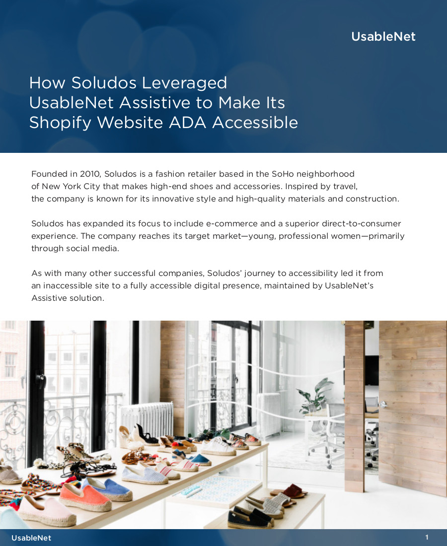 How Soludos Leveraged UsableNet Assistive to Make Its Shopify Website ADA Accessible image