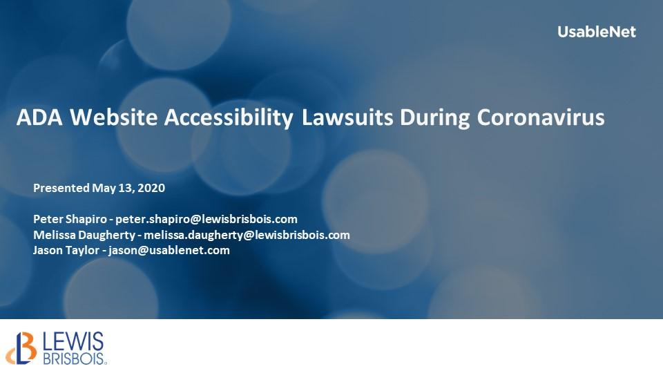 ADA Website Accessibility Lawsuits During Coronavirus image