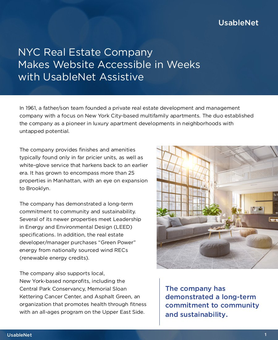 NYC Real Estate Company Makes Website Accessible in Week with UsableNet Assistive  image